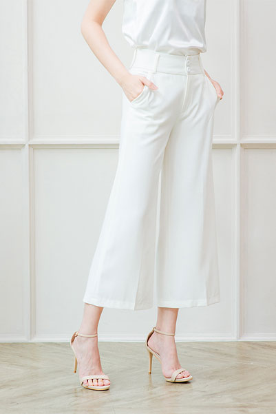 Wide Culottes Trousers by Cachet-White