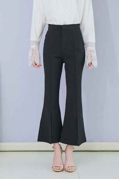 Front Slit Pintuck Trousers