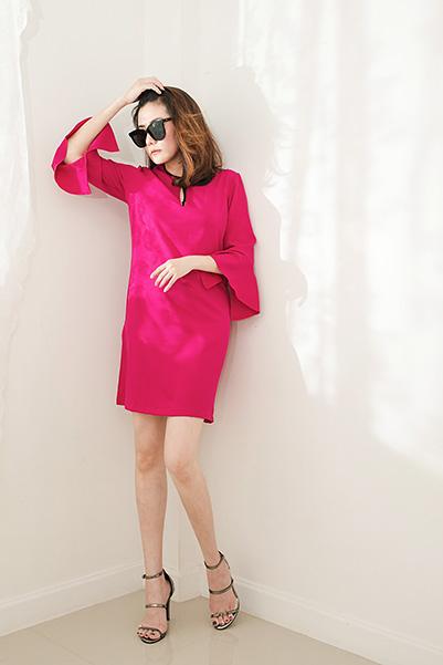 Sleeve Bell Pink Dress