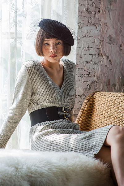 Grey Wrapped Knit Dress