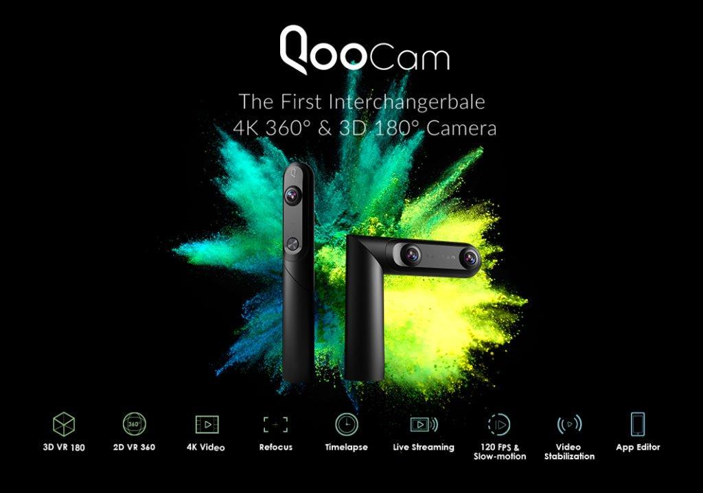 Qoocam Camera 360° 3D 180° 4k Resolution
