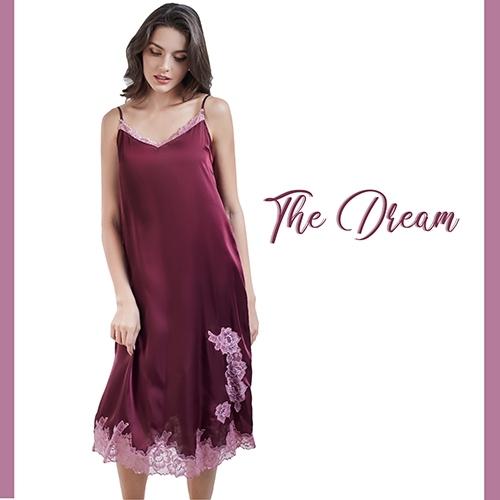 The Dreams ชุดนอนเดรสยาวสายเดี่ยว สีแดง รหัส FHTD04