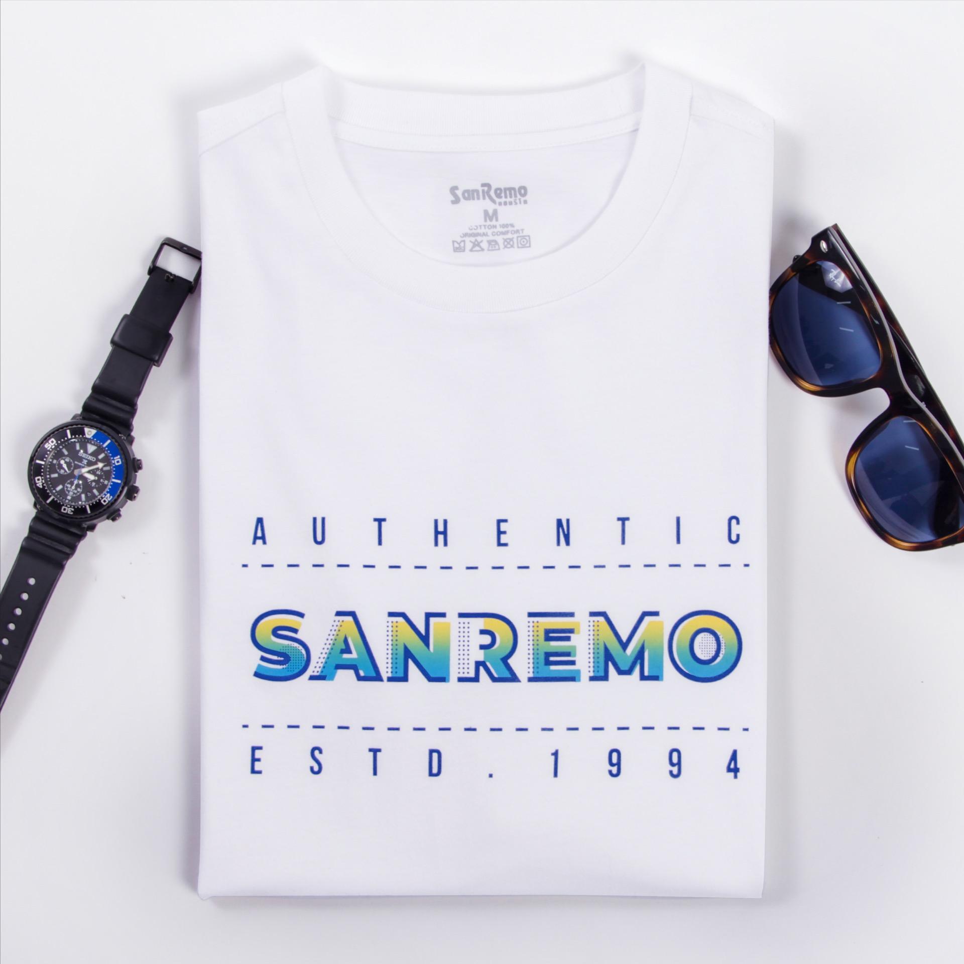 """เสื้อยืดคอกลมสีขาว สกรีนลาย """"AUTHENTIC SANREMO ESTD. 1994"""" รหัส SCTKS1"""