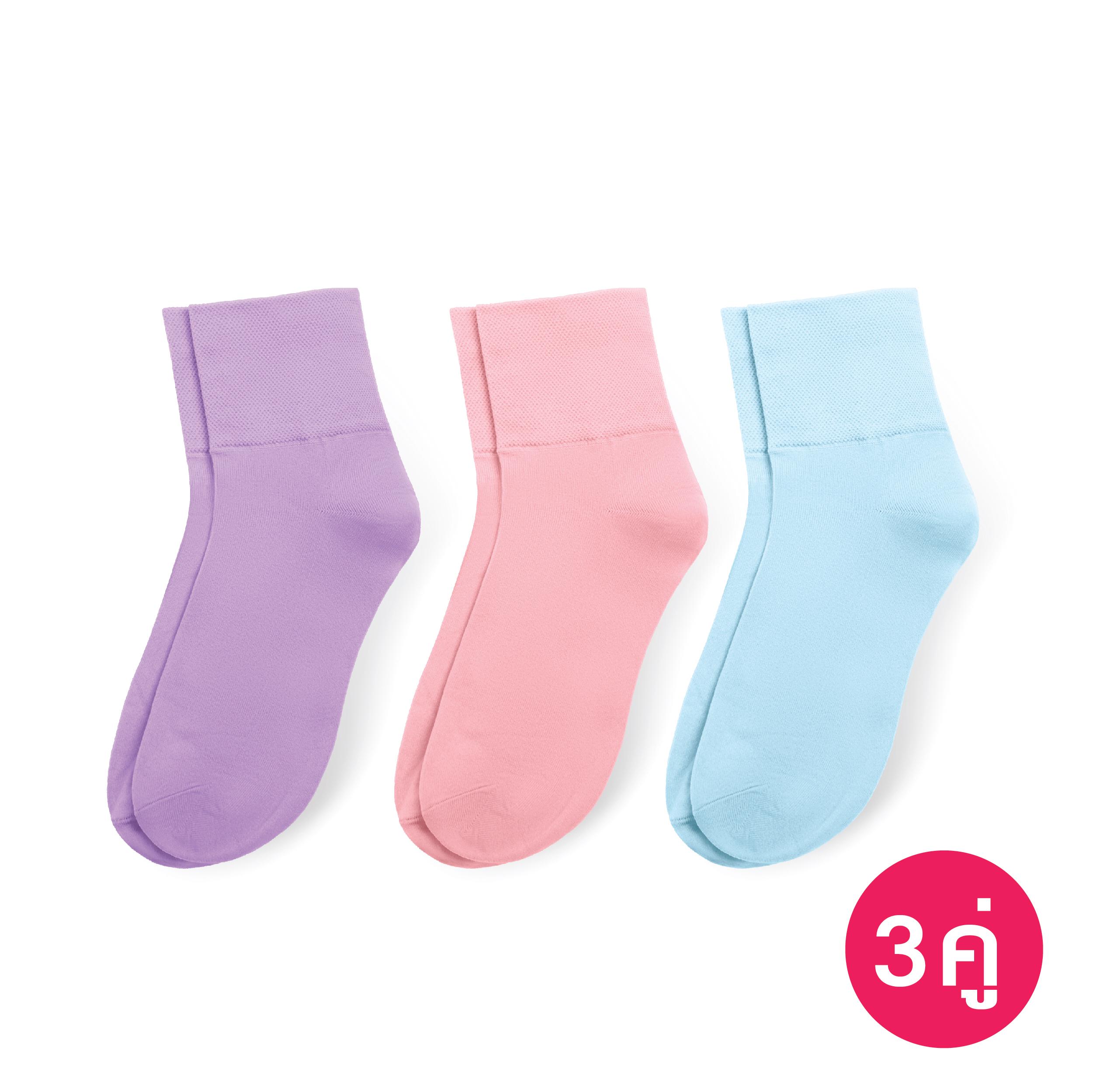[ซื้อ Set คุ้มกว่า] ถุงเท้าทอขอบหนา สีม่วง, สีชมพู, สีฟ้าอ่อน รหัส NESOAH
