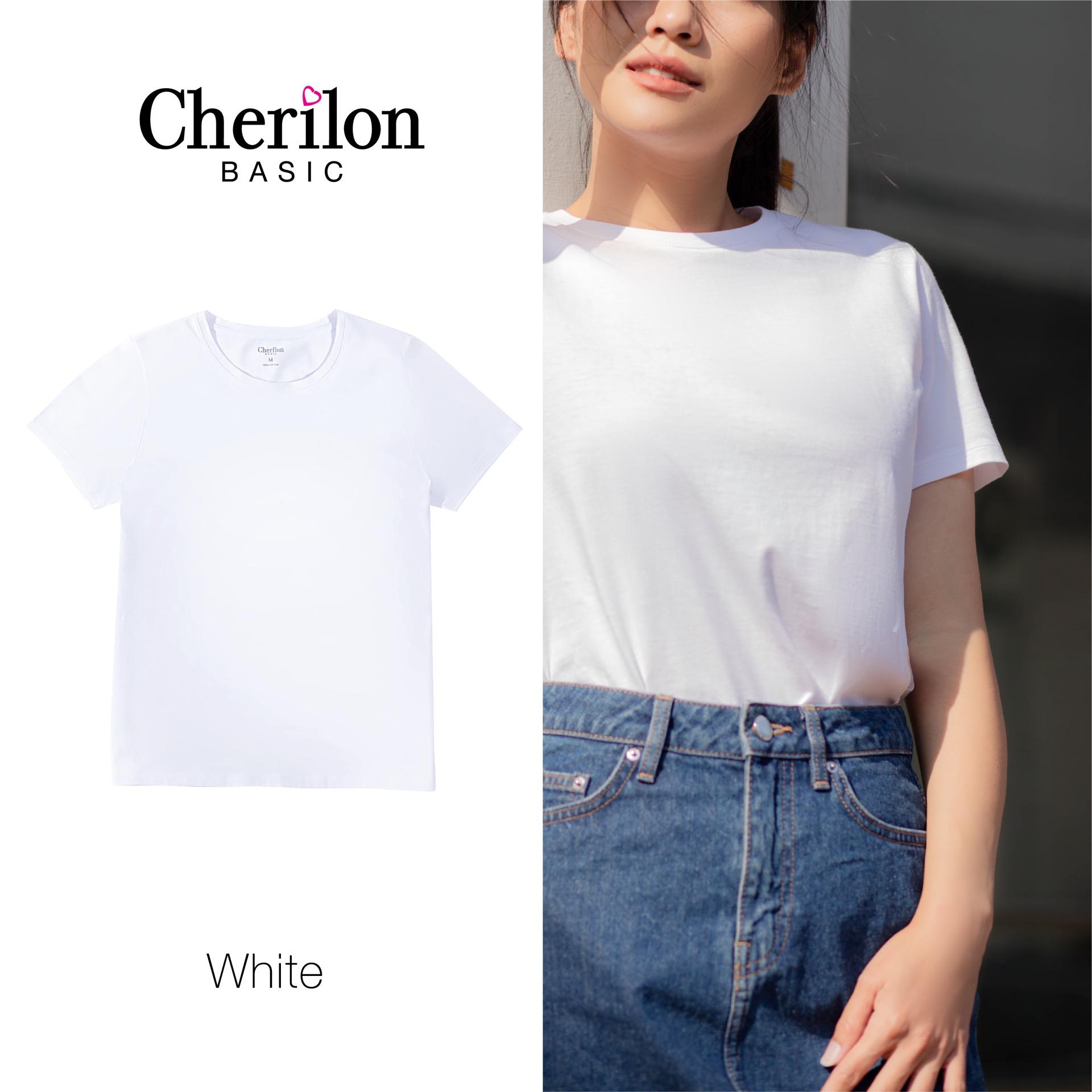 Essential Tee (T-Shirt) เสื้อแขนสั้นคอกลม สีขาว รหัส VTK001