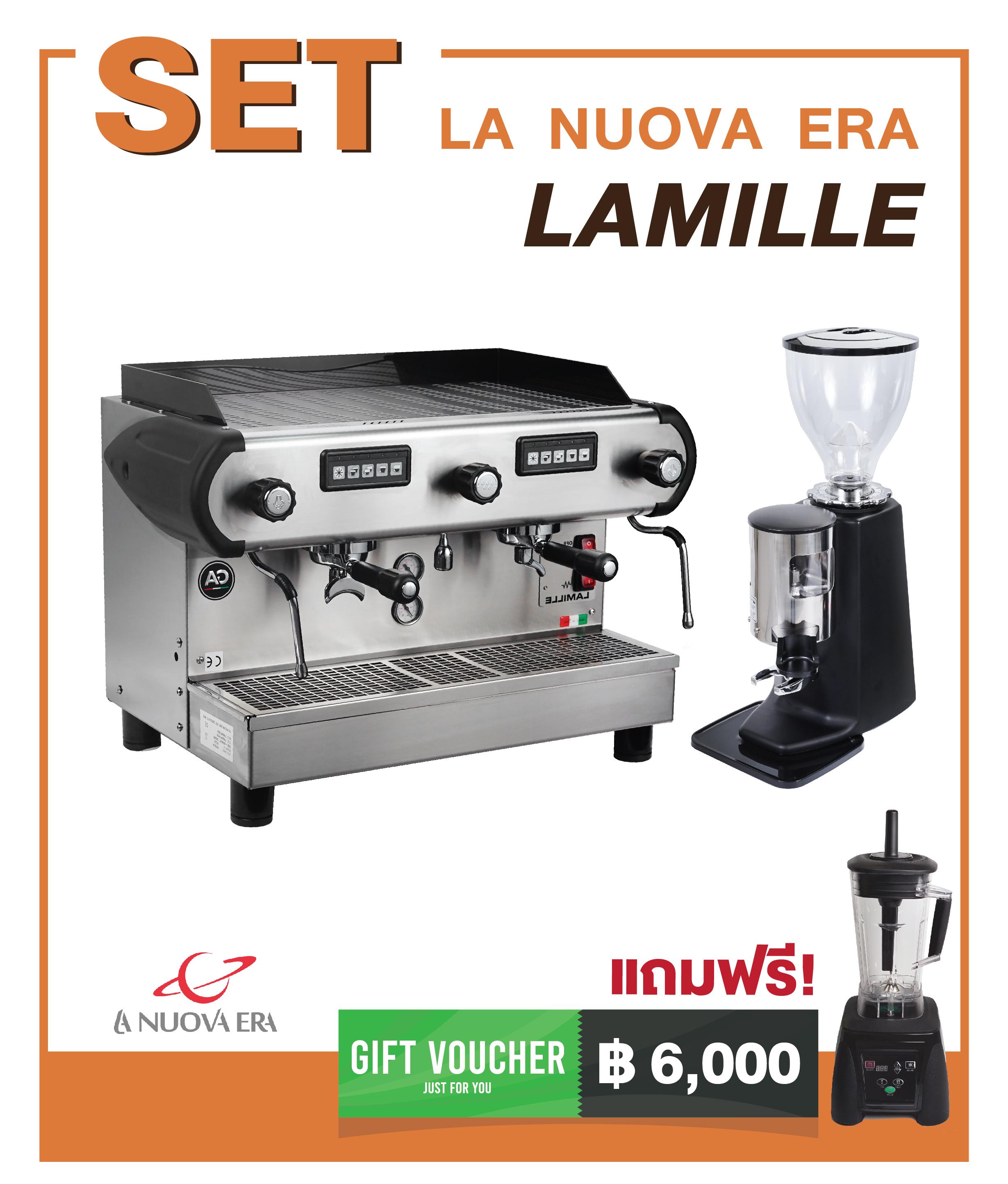 เครื่องชงกาแฟ La Nuova Era : La Mille + เครื่องบดกาแฟ MACINA : T1