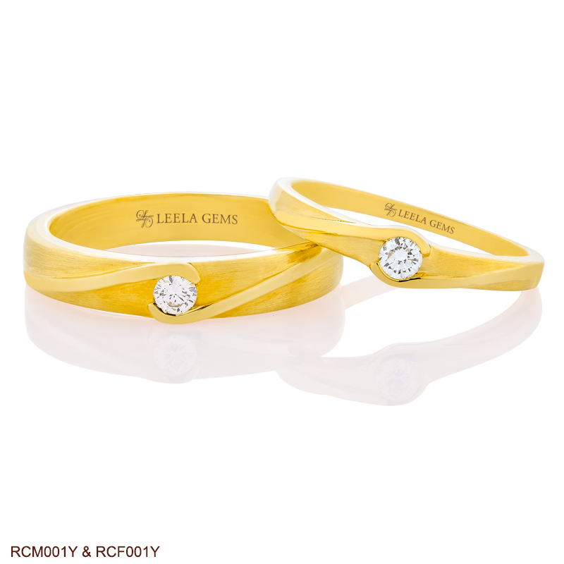 Couple Diamond Rings in 18K Yellow Gold