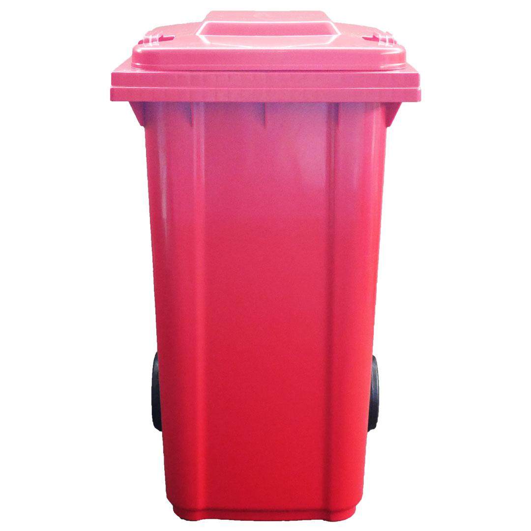ถังขยะพลาสติกพร้อมล้อเข็น (ฝา1ช่องทิ้ง) สีแดง 120L