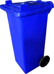 ถังขยะพลาสติกพร้อมล้อเข็น (ฝา1ช่องทิ้ง) สีน้ำเงิน120L