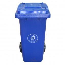 ถังขยะพลาสติกพร้อมล้อเข็น (ฝาเรียบ) สีน้ำเงิน 240L