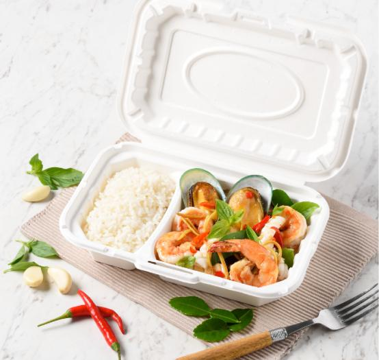 Pulp clamshell 2 compartments 950 ml.