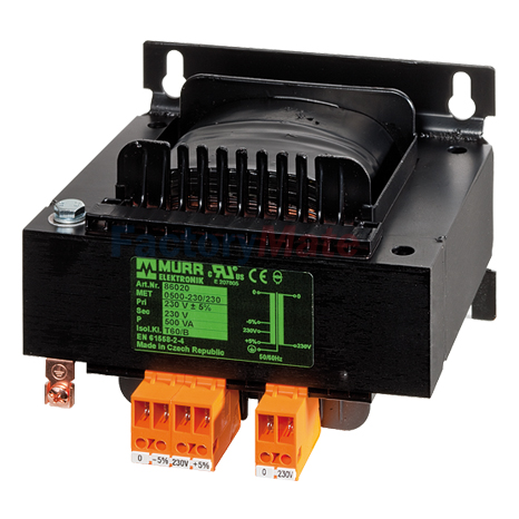 MET SINGLE-PHASE SAFETY TRANSFORMER P:100VA IN:110VAC OUT:24VAC with fuse-clamp