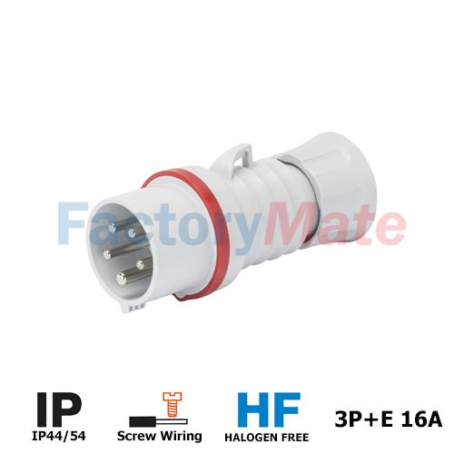 GW60008H STRAIGHT PLUG HP - IP44/IP54 - 3P+E 16A 380-415V 50/60HZ - RED - 6H - screw WIRING