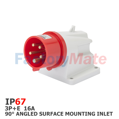 GW60430  90° ANGLED SURFACE MOUNTING INLET - IP67 - 3P+E 16A 380-415V 50/60HZ - RED - 6H - SCREW WIRING