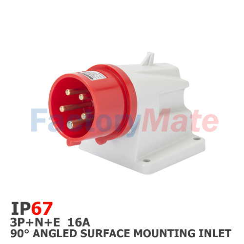 GW60431  90° ANGLED SURFACE MOUNTING INLET - IP67 - 3P+N+E 16A 380-415V 50/60HZ - RED - 6H - SCREW WIRING