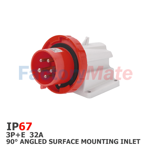 GW60441  90° ANGLED SURFACE MOUNTING INLET - IP67 - 3P+E 32A 380-415V 50/60HZ - RED - 6H - SCREW WIRING