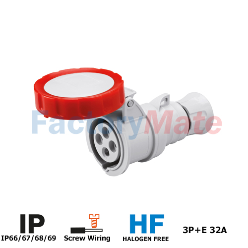 GW62041H   STRAIGHT CONNECTOR HP - IP66/IP67/IP68/IP69 - 3P+E 32A 380-415V 50/60HZ - RED - 6H - SCREW WIRING