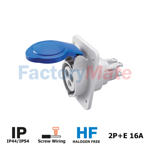 GW62205H 10° ANGLED FLUSH-MOUNTING SOCKET-OUTLET HP - IP44/IP54 - 2P+E 16A 200-250V 50/60HZ - BLUE - 6H - SCREW WIRING