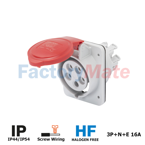 GW62210H  10° ANGLED FLUSH-MOUNTING SOCKET-OUTLET HP - IP44/IP54 - 3P+N+E 16A 380-415V 50/60HZ - RED - 6H - SCREW WIRING