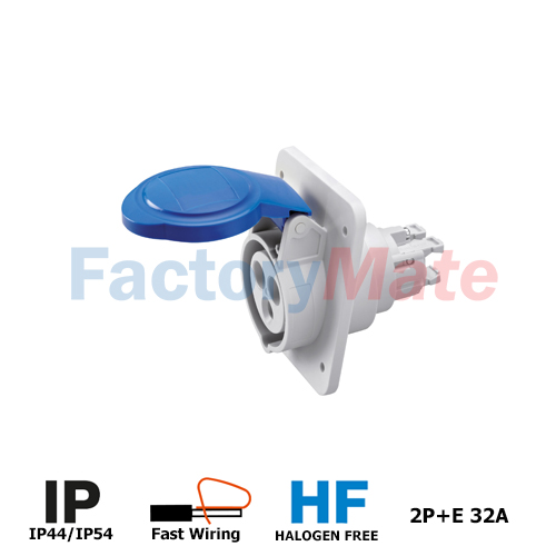 GW62216FH  10° ANGLED FLUSH-MOUNTING SOCKET-OUTLET HP - IP44/IP54 - 2P+E 32A 200-250V 50/60HZ - BLUE - 6H - FAST WIRING