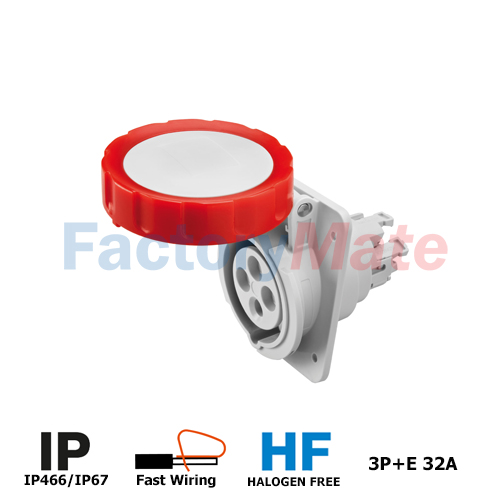GW62242FH  10° ANGLED FLUSH-MOUNTING SOCKET-OUTLET HP - IP66/IP67 - 3P+E 32A 380-415V 50/60HZ - RED - 6H - FAST WIRING