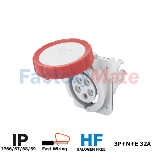 GW62243FH  10° ANGLED FLUSH-MOUNTING SOCKET-OUTLET HP - IP66/IP67 - 3P+N+E 32A 380-415V 50/60HZ - RED - 6H - FAST WIRING