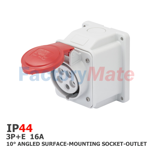 GW62408  10° ANGLED SURFACE-MOUNTING SOCKET-OUTLET - IP44 - 3P+E 16A 380-415V 50/60HZ - RED - 6H - SCREW WIRING