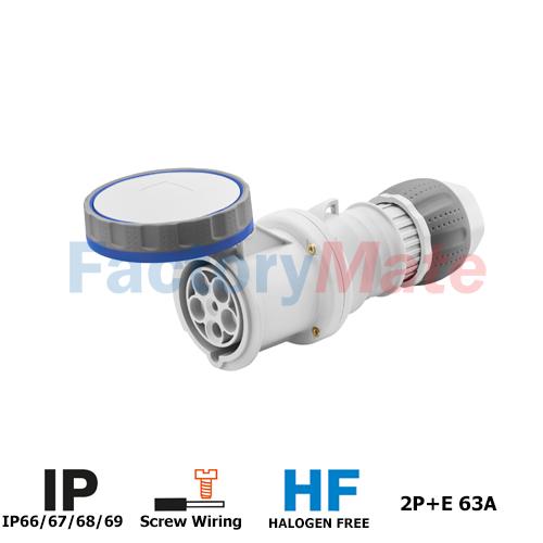 GW63048H  STRAIGHT CONNECTOR HP - IP66/IP67/IP68/IP69 - 2P+E - 63A - 200-250V 50/60 HZ - BLUE - 6H - MANTLE TERMINAL