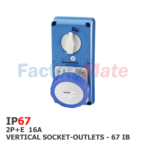 GW66226N  VERTICAL FIXED INTERLOCKED SOCKET OUTLET - WITH BOTTOM - WITH FUSE-HOLDER BASE - 2P+E 16A 200-250V - 50/60HZ 6H - IP67