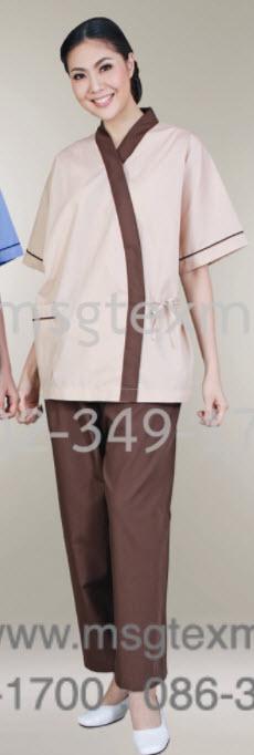 ชุดผู้ป่วยสีน้ำตาล  (ผ้าโทเร 210เส้น)