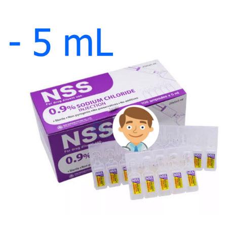 NSS Sodium Chloride 0.9% ใช้สำหรับล้างแผล ล้างจมูก (5 mL) (1 กระเปาะ)
