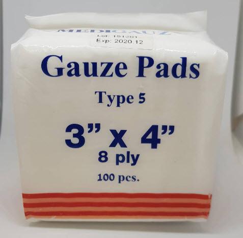 ผ้าก๊อซพับ 8 ชั้น 3x4 นิ้ว (100ชิ้น) MediGauz type 5