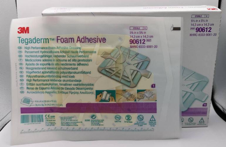 3M Tegaderm Foam Adhesive 14.3x14.3 cm [90612] มีขอบกาวและกันน้ำ