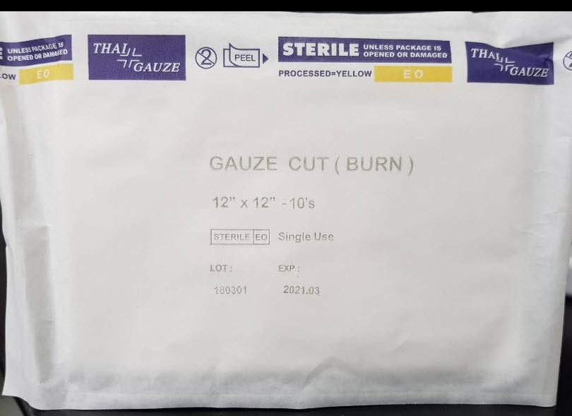 ผ้าก๊อซตัดแผ่น Gauze Cut (BURN) 12x12 นิ้ว (ThaiGauze)