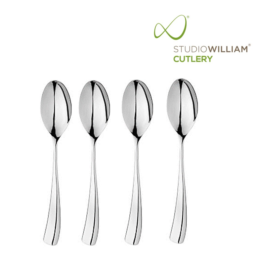 STUDIO WILLIAM LARCH MIRROR DESSERT SPOON 188MM  (4 PIECES/SET)