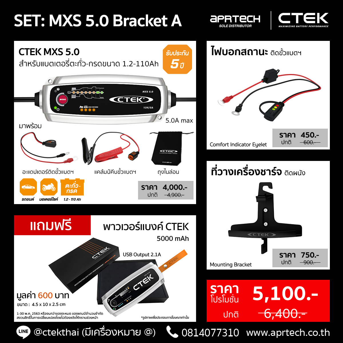 SET MXS 5.0 Bracket A (CTEK MXS 5.0 + Indicator Eyelet + Mounting Bracket)