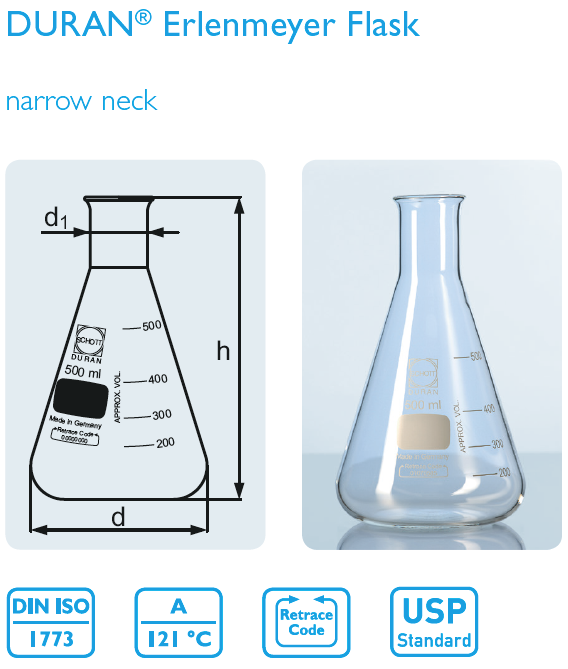 Erlenmeyer flasks 500 ml