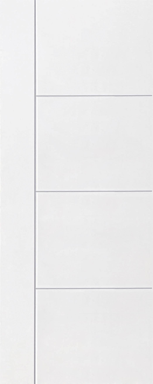 ประตูUPVC สีขาว บานเรียบ เซาะร่อง 1 เส้นตรง 3 เส้นนอน