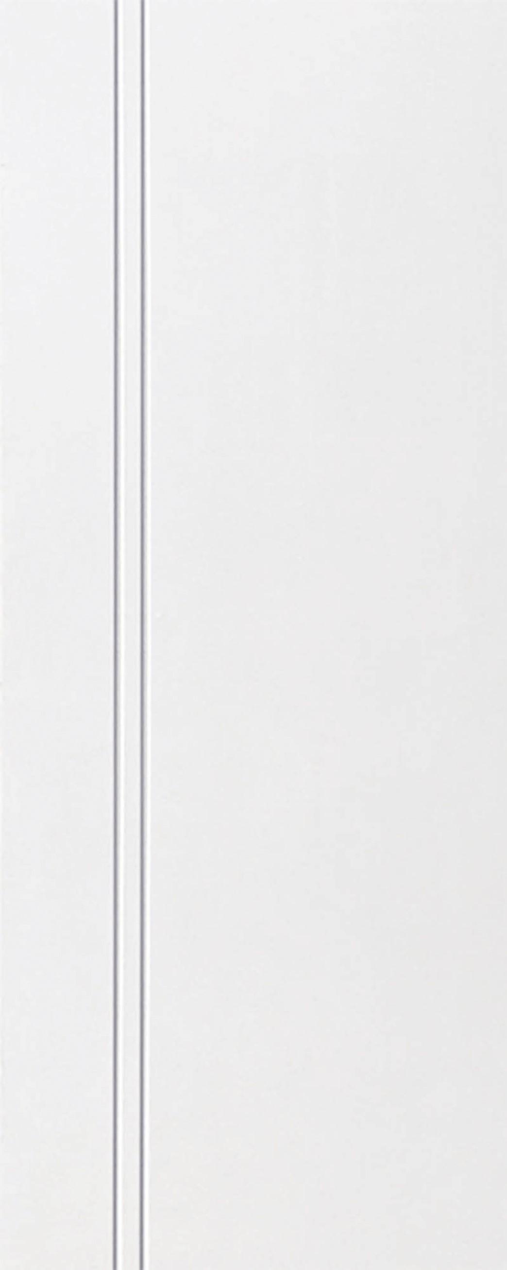 ประตูUPVC สีขาว บานเรียบ เซาะร่อง 2 เส้นตรง