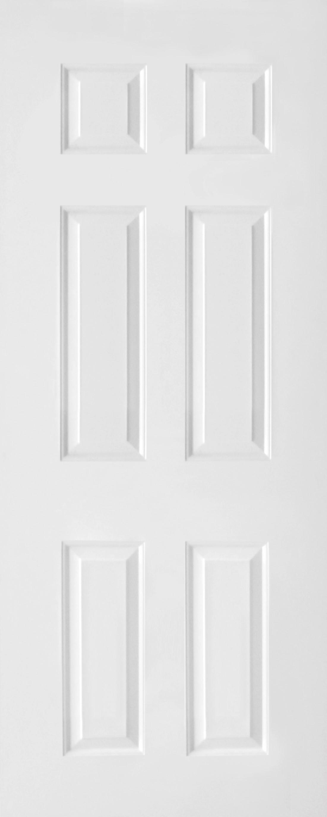 ประตูUPVC ผิวหน้าลายไม้ สีขาว บานลูกฟัก 6 ช่องตรง