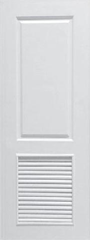 ประตูUPVC ผิวหน้าลายไม้ สีขาว บานลูกฟัก 2 ช่องตรง+เจาะเกล็ด 1/2