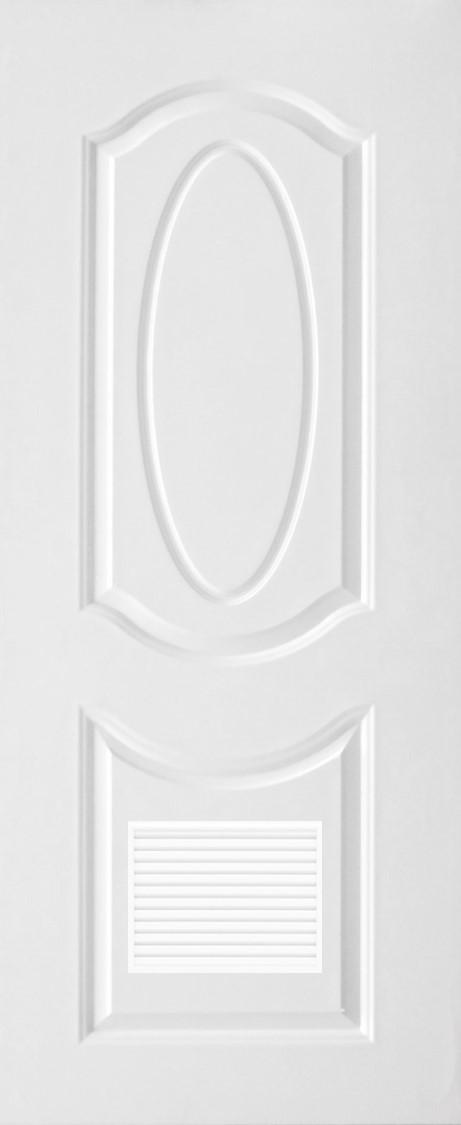 ประตูUPVC ผิวหน้าลายไม้ สีขาว บานลูกฟัก 2 ช่องโค้ง+เจาะเกล็ด 1/4
