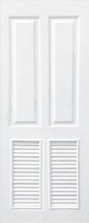 ประตูUPVC ผิวหน้าลายไม้ สีขาว บานลูกฟัก 4 ช่องตรง+เจาะเกล็ด 1/2