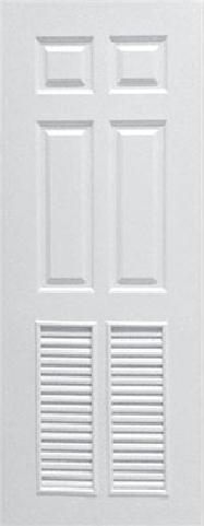 ประตูUPVC ผิวหน้าลายไม้ สีขาว ลูกฟัก 6 ช่องตรง+เจาะเกล็ด 1/2