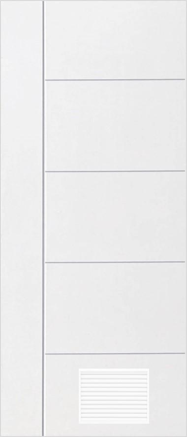 ประตูUPVC ผิวหน้าลายไม้ สีขาว เซาะร่องสำเร็จรูป 1 เส้นตรง+เจาะเกล็ด 1/4