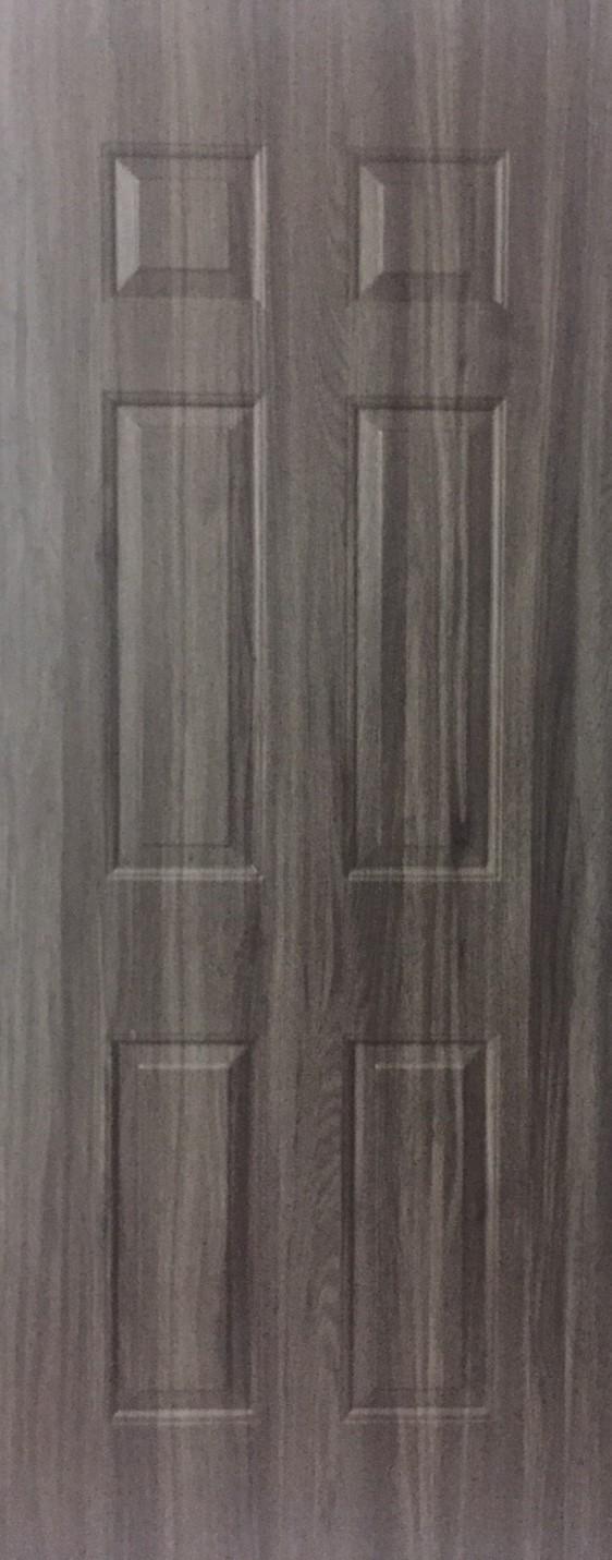 ประตูUPVC ผิวหน้าลายไม้  สีSmokyGrey ลูกฟัก 6 ช่องตรง