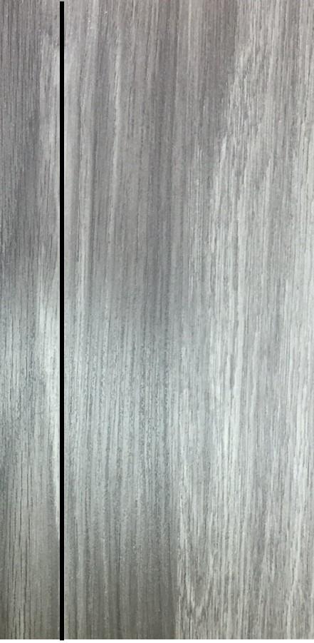 ประตูUPVC ผิวหน้าลายไม้ สีSmokyGrey บานเรียบ เซาะร่อง 1 เส้นตรง