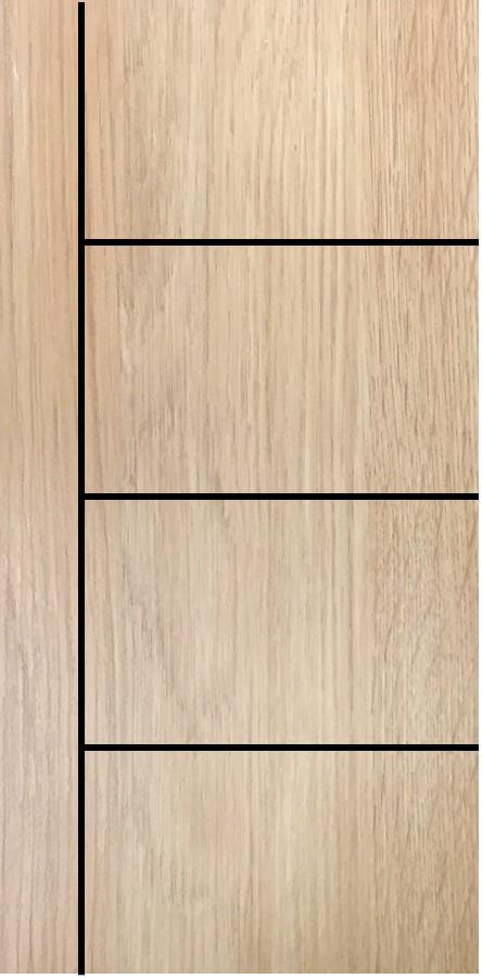 ประตูUPVC ผิวหน้าลายไม้ สีYellowAsh บานเรียบ เซาะร่อง 1 เส้นตรง 3 เส้นนอน