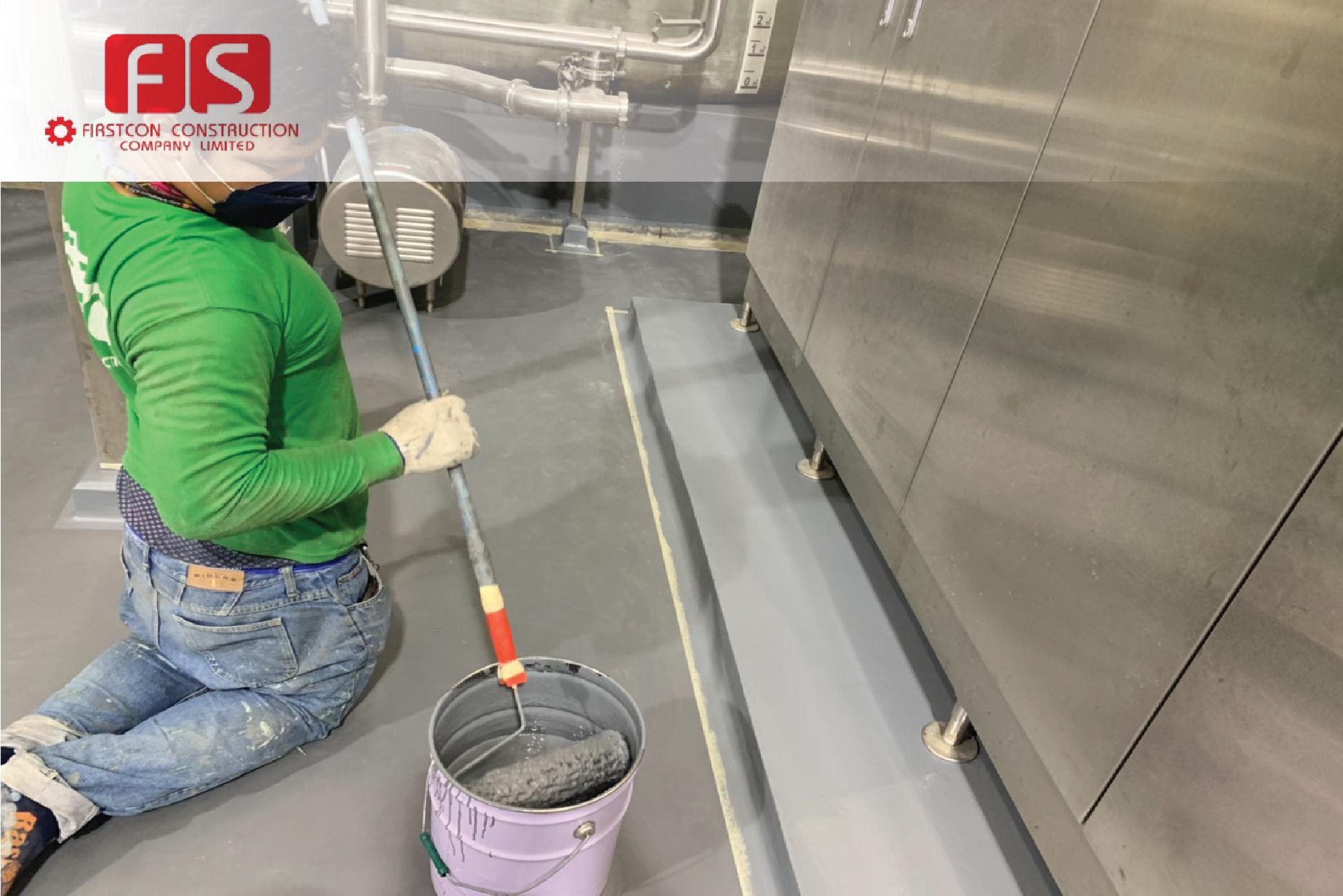 งานเคลือบพื้น ด้วย PU coating ห้องเครื่อง
