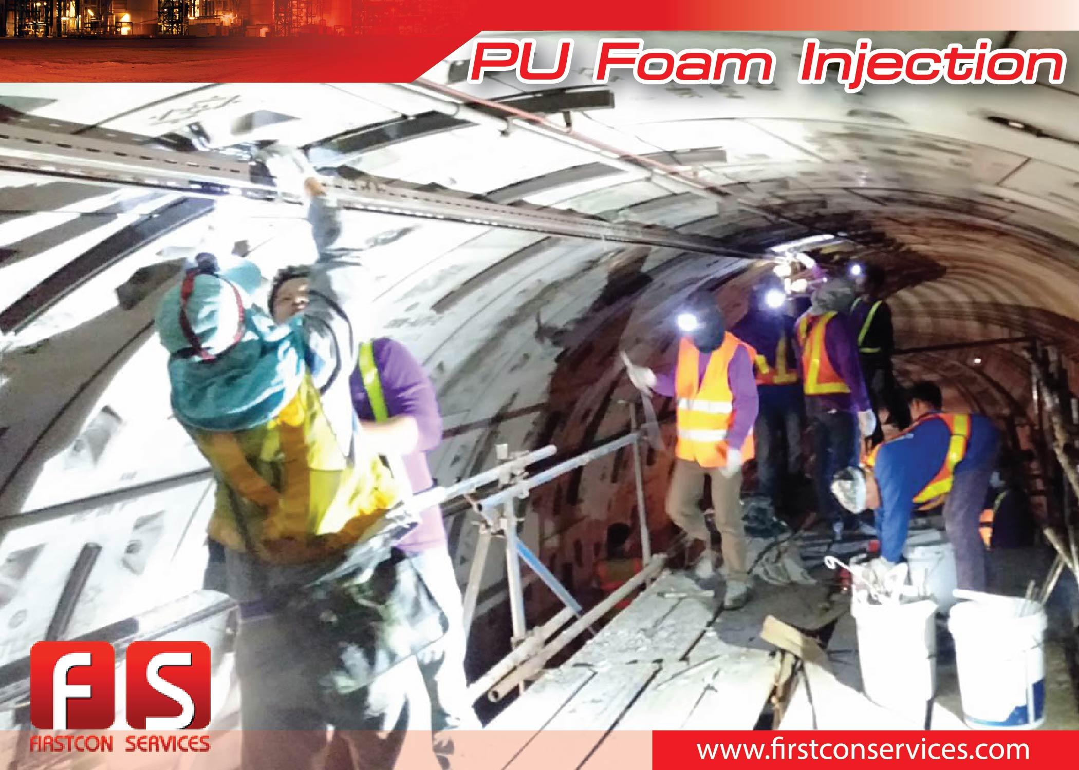 งานแก้ไขน้ำรั่วซึมโดยการฉีด PU Foam BEM